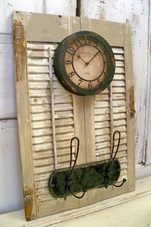 Decorative Metal Shutters For Living Room Interior Houston Tx: Wood Shutter Adorned Clock Coat Rack Distressed Rusty Metal