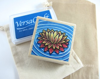 Lotus Rubber Stamp - Wood Mounted Rubber Stamp - Water Lily