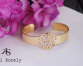 Hand Made Monogrammed Initials Cuff Bangle (Order Any Initials) -  24k Gold Overlay