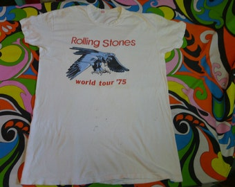 vintage 1975 ROLLING STONES shirt World Tour '75 rocknroll shirt 70s mick jagger shirt americas tour shirt original RARE