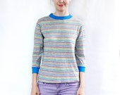 Vintage 70's Cotton Rainbow Striped Top