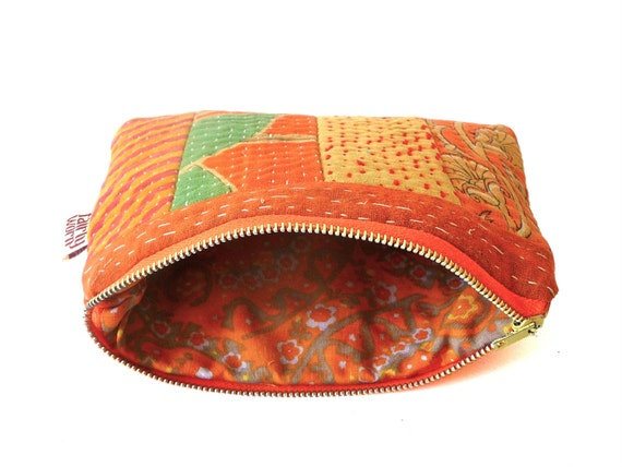 recycled kantha makeup jewelry coin bag purse pouch