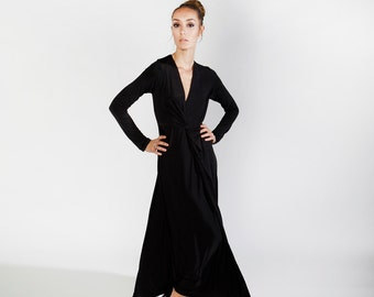 Black Maxi Dress, Bridesmaid Dress, black Cocktail sexy dress, long sleeves, party dress, flare skirt, long dress, v neck top, fitted top