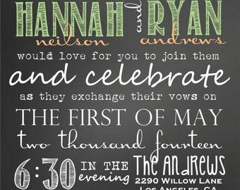 Custom Chalkboard Subway Peach and Mint Wedding Invitations