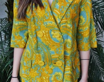 Vintage 1960's Mustard/Teal Paisley Print Suit by Anjac Fashions, Sytled by Jack Needleman
