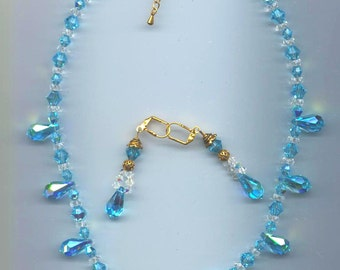 FREE Shipping Swarovski Aquamarine AB 18mm by 9mm Pendant and AB Bicone Necklace & Earrings, New Vintage Stock Crystals