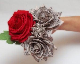 brooch bouquet, bridesmaids bouquet, wedding bouquet, paper flower bouquet, wedding flowers