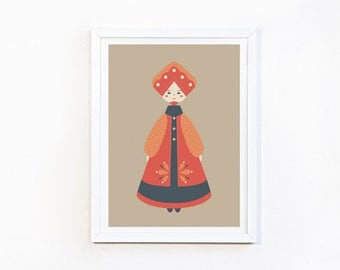 Folklore (red) print A4