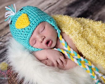 Blue Bird Beanie, Blue Bird Costume, Baby Shower Gift, Photo Prop, Crochet Photo Prop