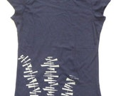 Tipsy Top - Womens screen printed shirt - navy top with light grey print