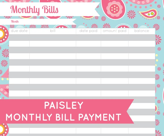 Monthly Bill Organizer Printable | Calendar Template 2016