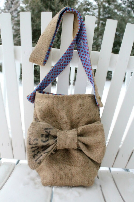 burlap purse with bow adjustable strap coffee bag fully lined with vintage blue and red flower print