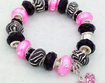 Zebra Heart European Style Charm Bracelet