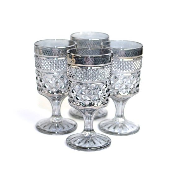 Silver Pressed Glass Goblets Diamond Quilt Style Pattern