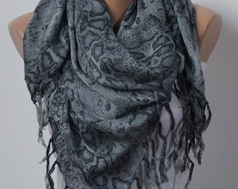 GRAY and BLACK Scarf with fringe. Big Scarf or Shawl. Snake skin. For her. Valentine Scarf
