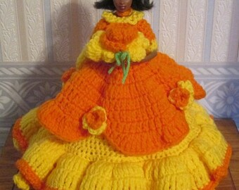 Crochet African American Victorian Doll Dress Lady In Orange and Yellow