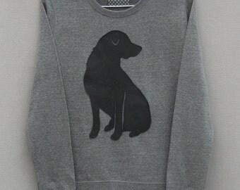 Leather Labrador Jumper Grey Heather Lightweight Crew Neck Sweatshirt