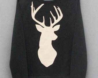 Leather Stag Deer Jumper Dark Grey Heather Lightweight Crew Neck Sweatshirt