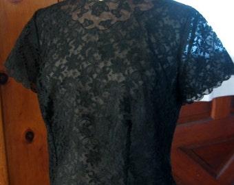 Vintage 50s Black Lace Blouse Scalloped Illusion Neckline Short Sleeve Button Up Back Rockabilly VLV