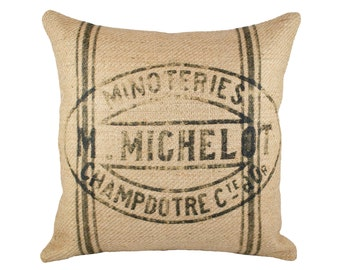 French Grainsack Reproduction Pillow Cover, Burlap Sack, 16""