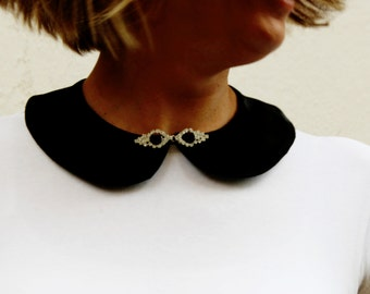Black Satin Peter Pan Collar with crystal hook & eye,Detachable collar