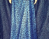Blue leopard print wrap skirt