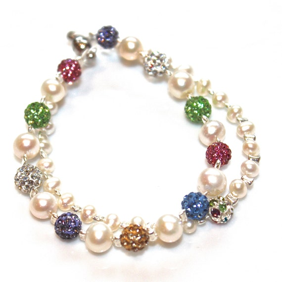 Multistrand Pearl Bracelet Freshwater Pearl Fizz Candy Signature Multicolor Rainbow Sparkle Rhinestone Fizz Candy