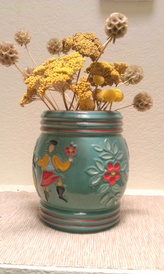 Items Similar To Antique Red Wing Pottery Cookie Jar 1940s Peasants Dancing Folk Primitive
