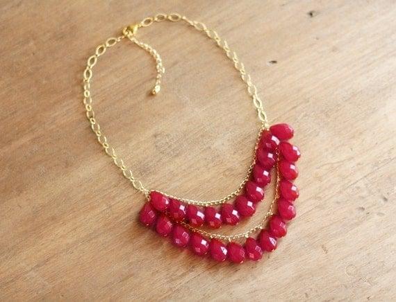 Raspberry Red Teardrop Statement Necklace