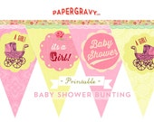 Printable baby girl shower BUNTING Vintage style pennants