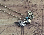 Winged Heart Pendant Silver Valentines Day Flying Angel Wings Turquoise Steampunk Teen Girl Gift Bead Ball Chain Fashion Jewelry Free Ship