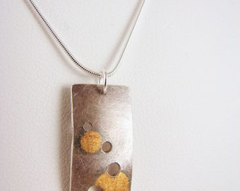 """Fine Silver and 24k Gold """"Eclipse"""" circles necklace"""