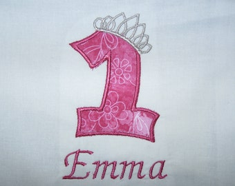 Baby Girl's First Birthday Tiara Princess Personalized Tshirt 1st (2nd, 3rd, 4th, 5th also available)