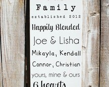 Family Christmas Gift with Family Names Established date sign with family names Blended Family Sign