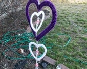 Purple and White Heart Windspinner