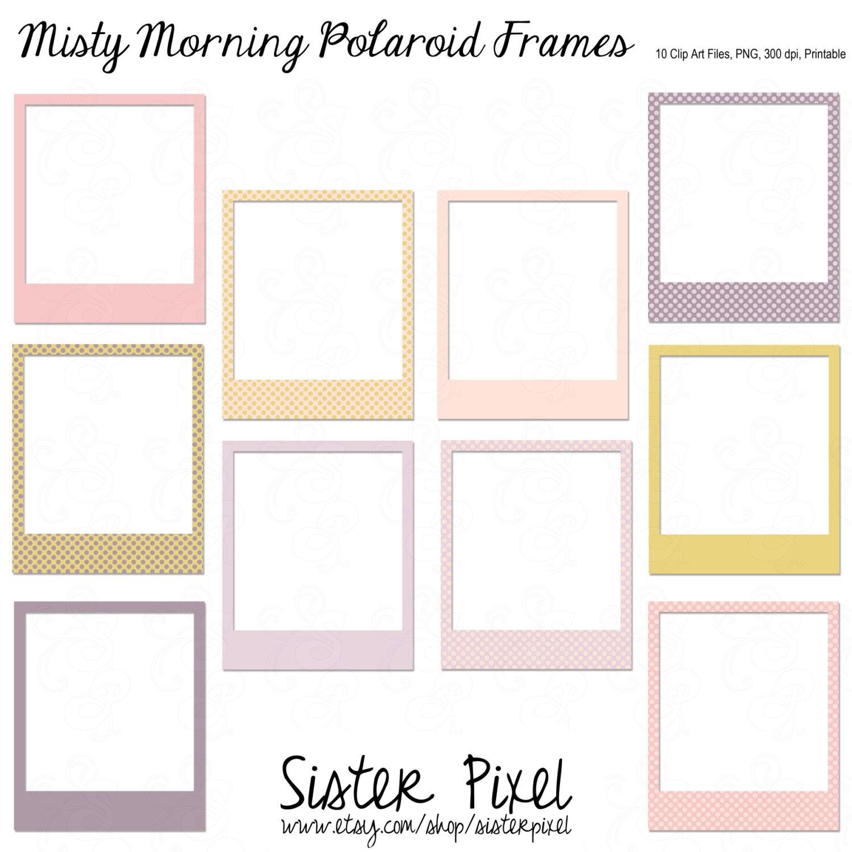 Clip Art Polaroid Frames In Light Feminine Colors By