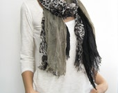 Floral scarf, black, gray spring scarf, layered scarf