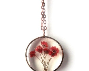 Red Baby's Breath Resin Pendant Necklace - Real flowers in open back copper pipe bezel, Pressed Flower Jewelry - Resin Jewelry