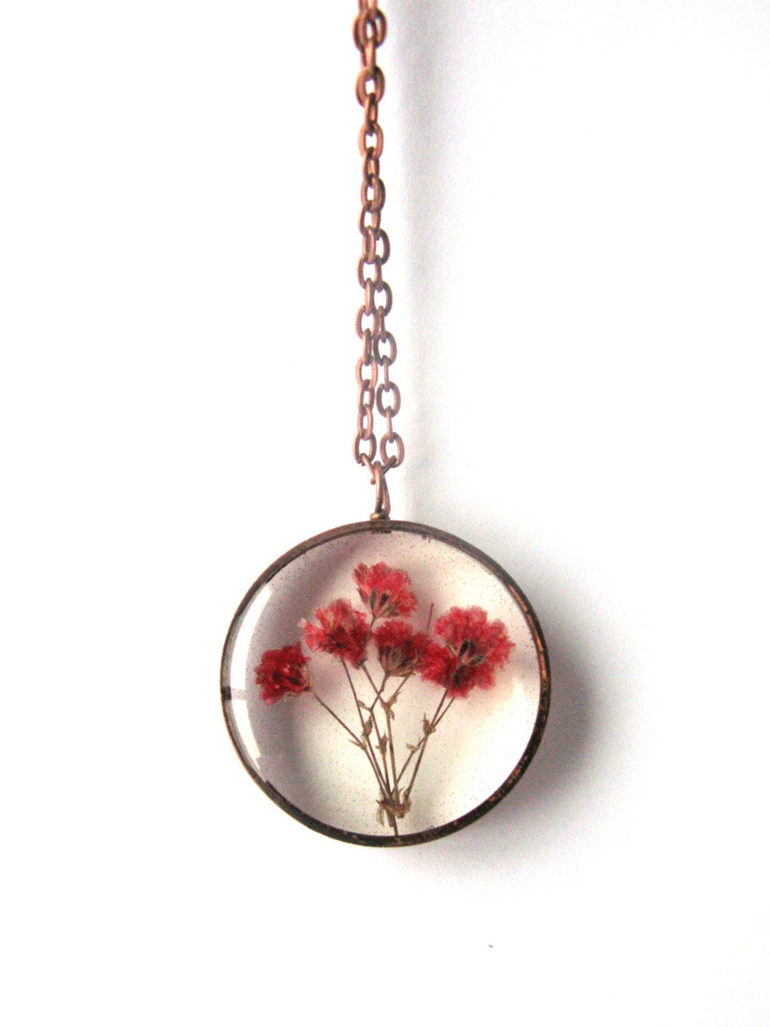 Red Baby S Breath Resin Pendant Necklace Real Flowers In