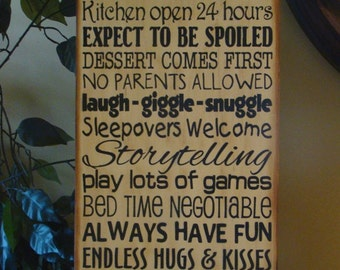 Grandma's/Nana's/Grandparents' House Rules Wooden Primitive Typography Sign