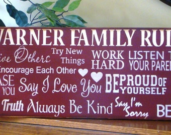 Personalized Horizontal Family Rules Word Art/Typography Subway Primitive Sign