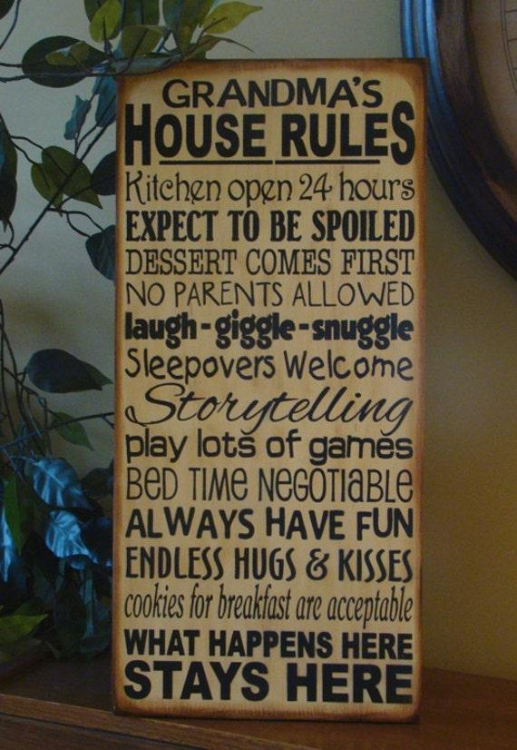 Grandma's/Nana's/Grandparents' House Rules Wooden