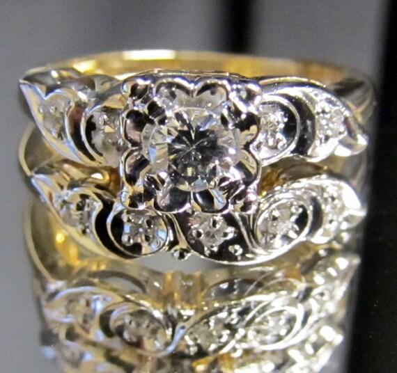 1950s vintage diamond engagement ring amp wedding band
