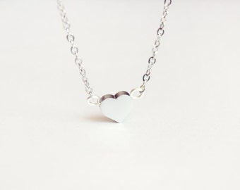 tiny heart necklace - delicate silver tone jewelry - christmas  gift for her under 15 usd