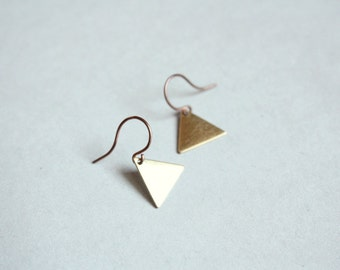triangle earrings - modern, minimalist, dainty jewelry / raw brass