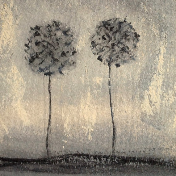 Original Abstract Painting. Black and Grey Art for Home Decor.  Dandelion. Minimalist decor.  Gift . Acrylic and watercolor.  Painting 241