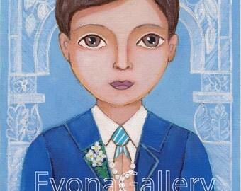 First Communion Boy, Print  Of Original Art , Wall Decore by Evona