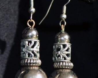 Vintage Silver Ball Dangle Earrings