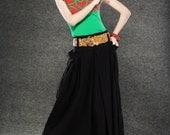 Black Maxi Skirt - Long Linen Full Skirt with Large Side Pockets and Deep Waistband and Hidden Zipper C064