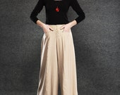 Cream Linen Pants - Beige Linen Trousers Wide-Legged Baggy Style with Button Fastening and Pockets (C057)